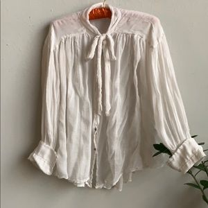 🦋 Free People Sheer Pussy Bow Blouse